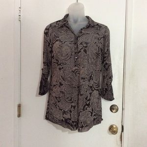INC Black & Grey Paisley Long-Sleeve Button Blouse